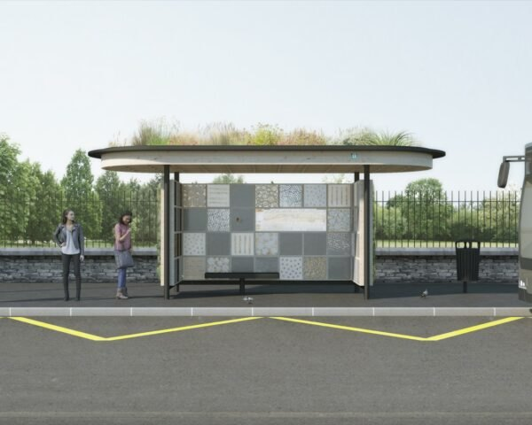 rendering of bus stop with a green roof