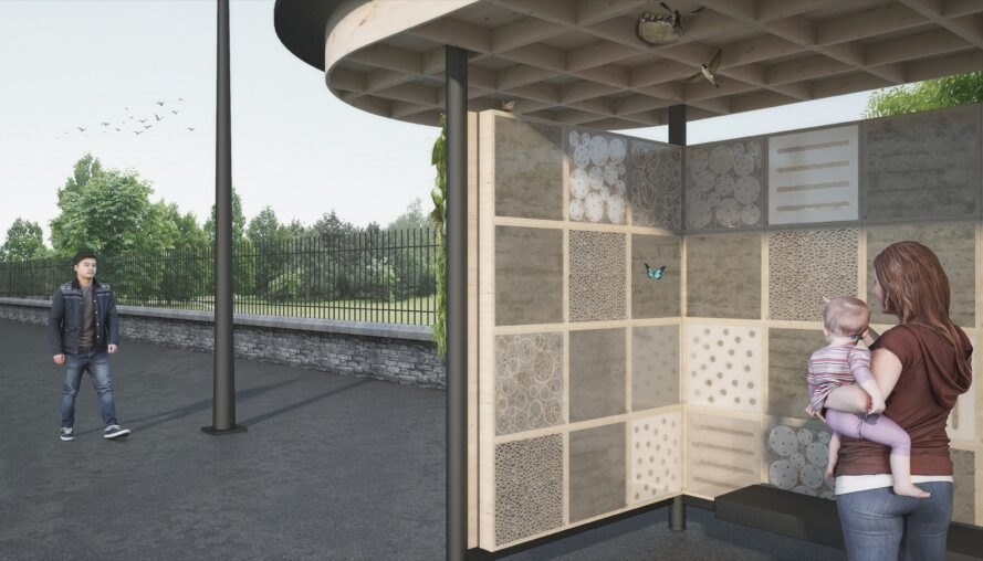 rendering of bus stop with insect habitats built into walls