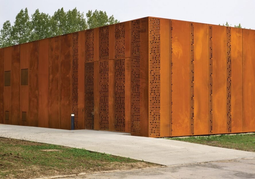 building with perforated, oxidized steel exterior