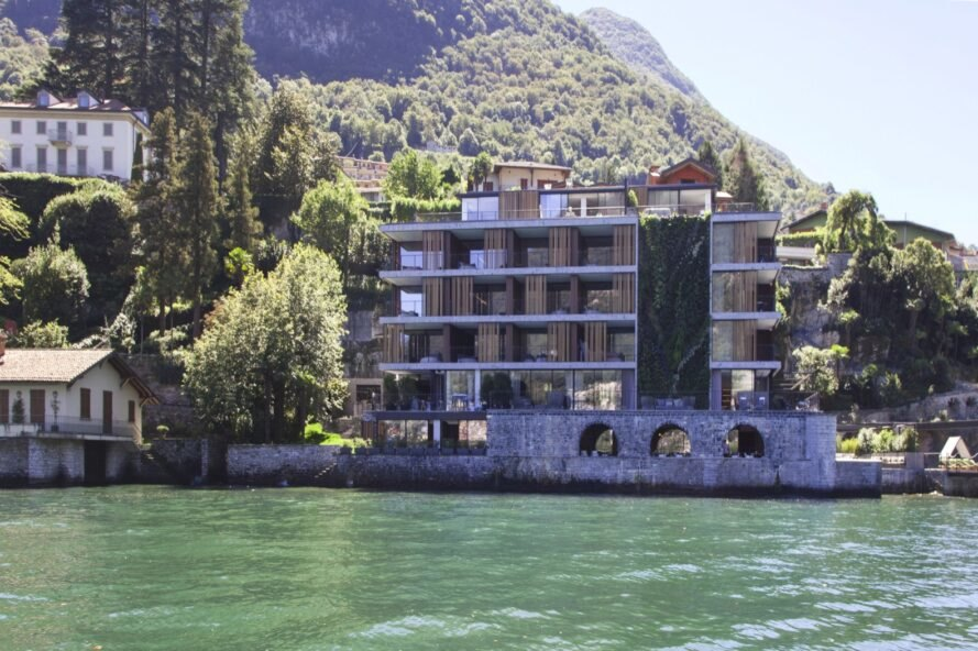 A massive green wall grows up the side of this luxury Italian hotel