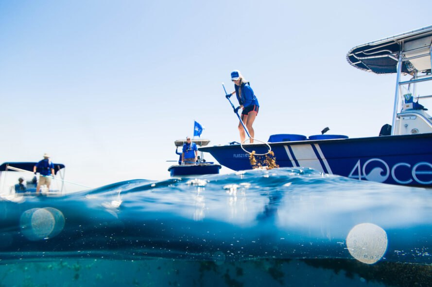 woman uses a net to collect plastic waste from ocean while standing on a 4ocean blue boat