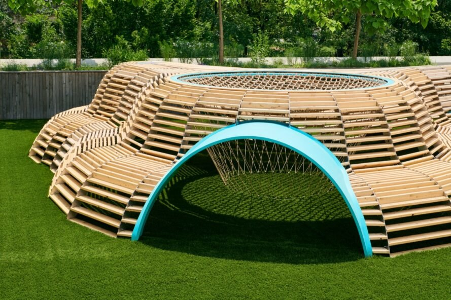 blue entrance into woven wood structure