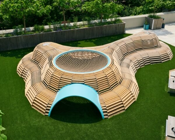 curving wooden playground