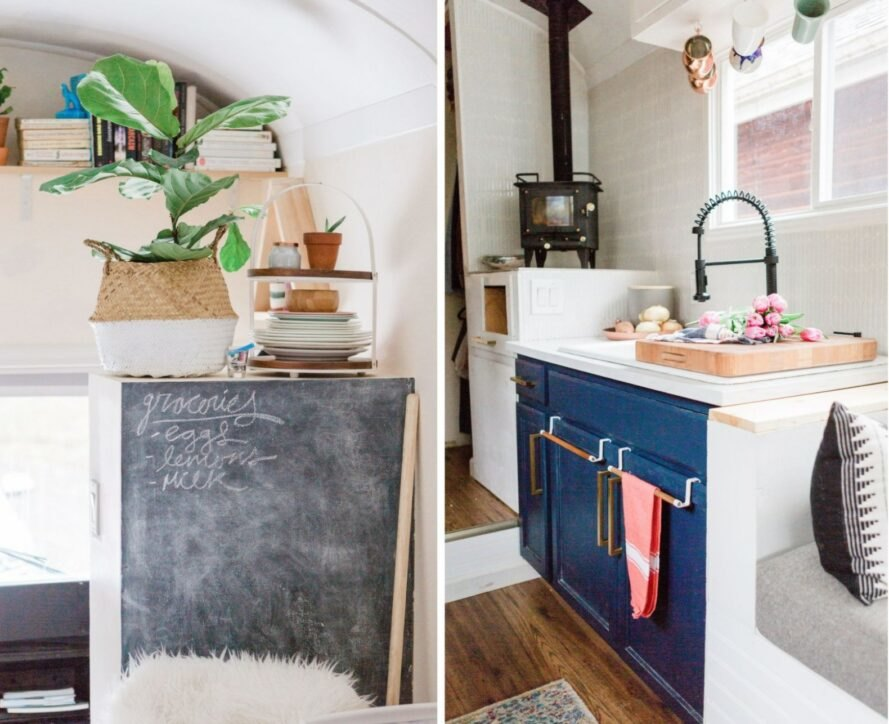 a chalkboard and compact kitchen space