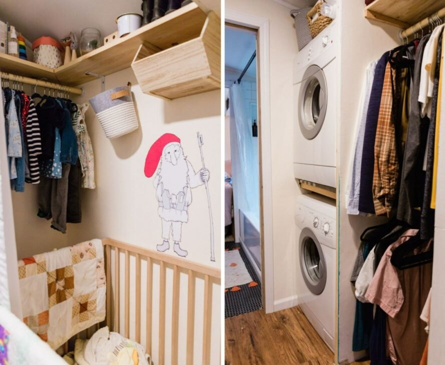 baby's crib and laundry space