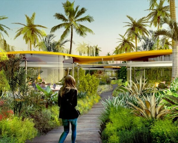 rendering of lush gardens in front of glass building