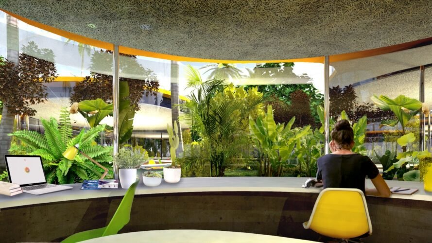 rendering woman working at curving table with views of outdoor plants through curved glass wall