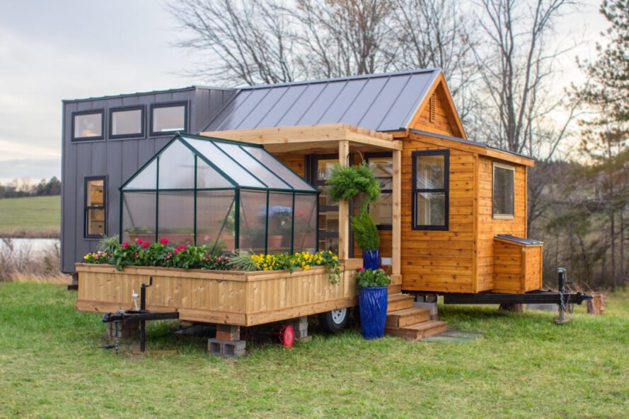 This Gorgeous Tiny Home Features A Greenhouse And Wooden