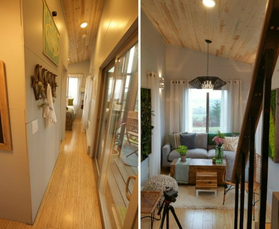 interior hallway of tiny home with light wood floors