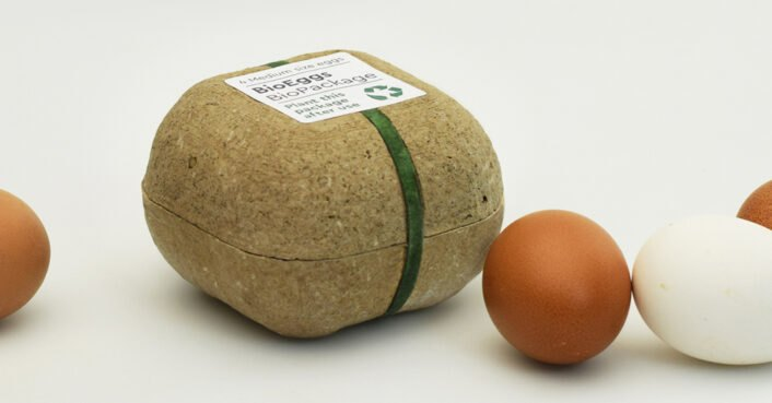 This egg carton is made out of seeds that sprout when replanted