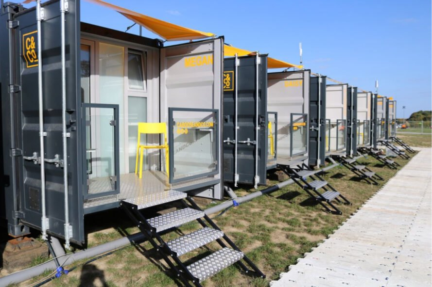 shipping container lodging with front deck