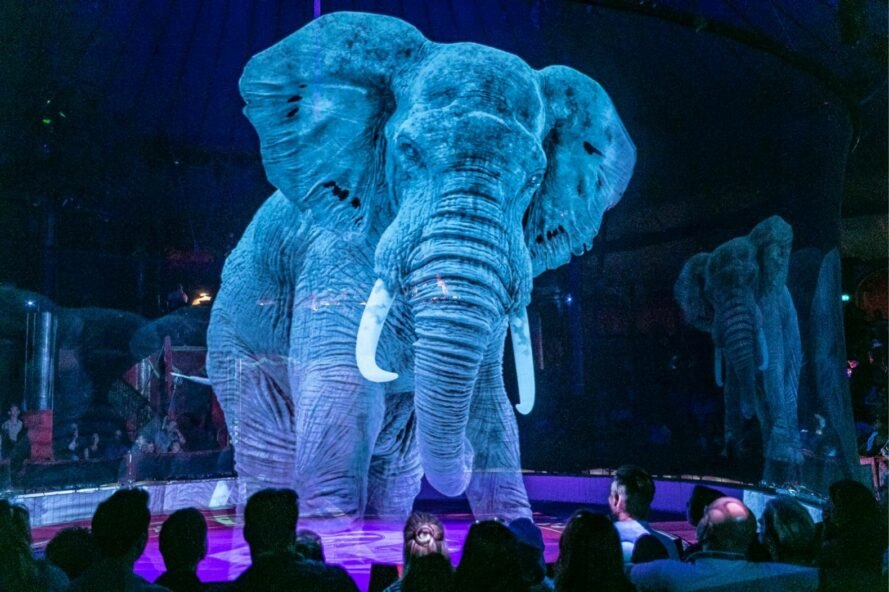 elephant hologram at a circus