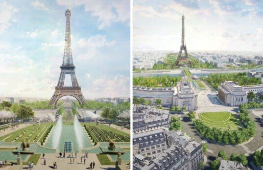 renderings of gardens underneath the Eiffel Tower
