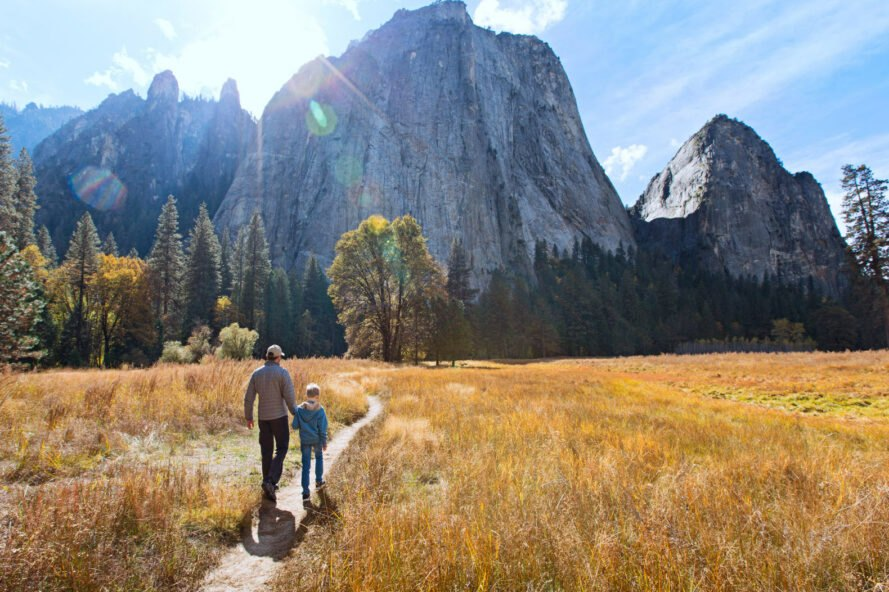father and son hiking in a national park