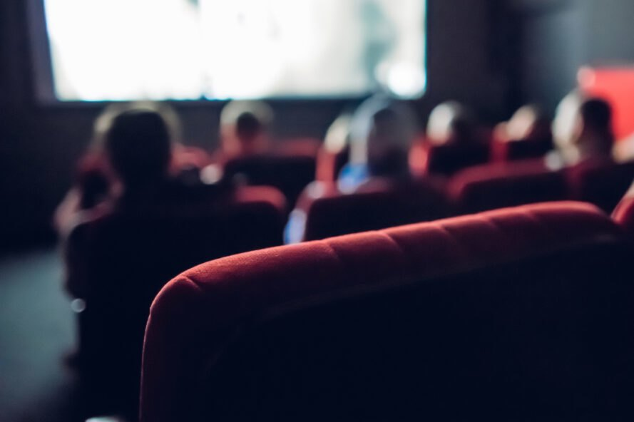 close-up of seat in a movie theater