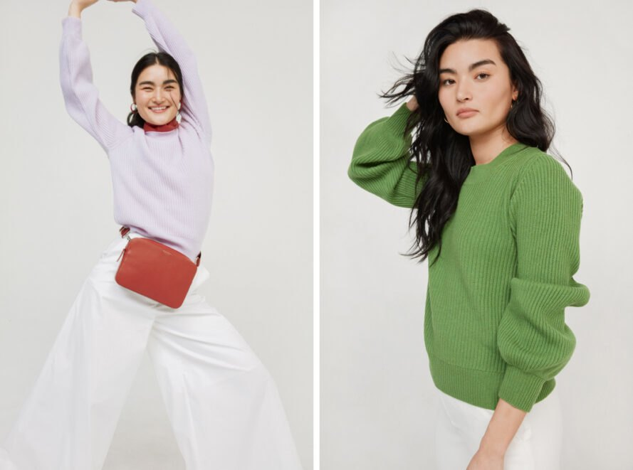 On the left, girl in lavender sweater. On the right, girl in a green sweater.