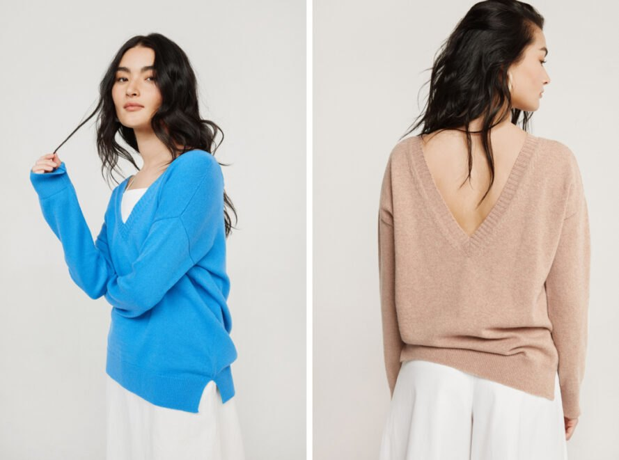 On the left, girl in bright blue cashmere sweater. On the right, girl in beige sweater with deep V back.