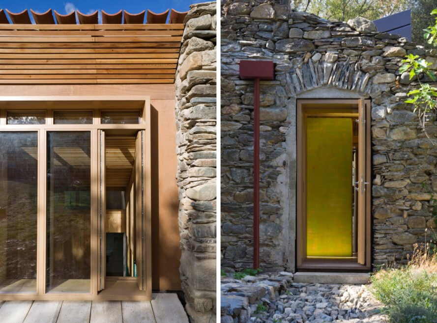 wood doors on a stone building