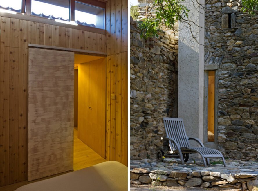 wooden interiors of small stone structure and a patio chair outside
