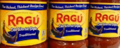 jars of Ragú pasta sauce on grocery store shelf