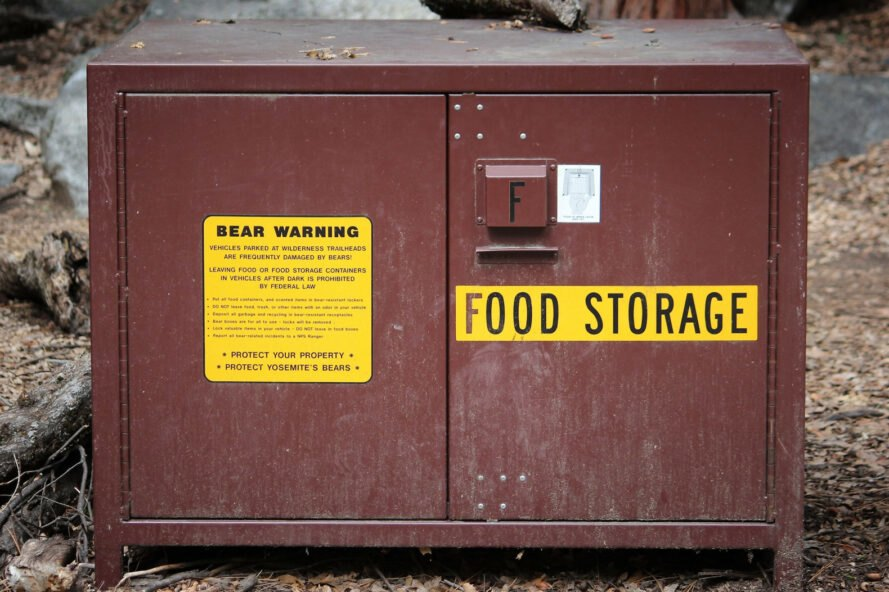 food storage container in camp site