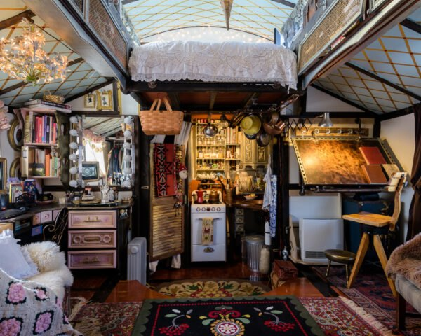 tiny home interior filled with knick-knacks