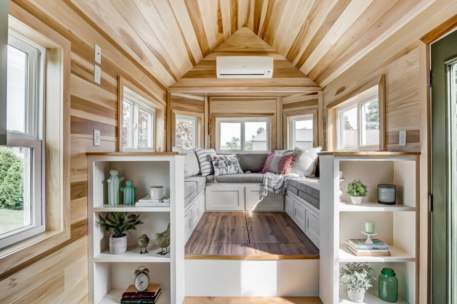 tiny home interior with huge sofa