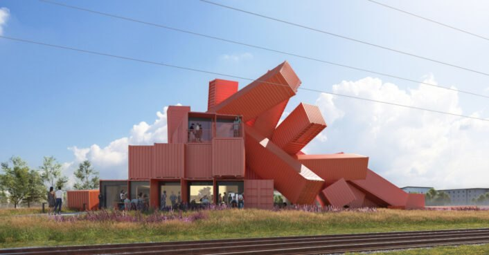 Artist David Mach designs sculptural building out of repurposed