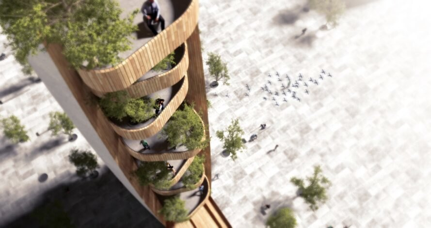aerial rendering of balconies on a wood observation tower