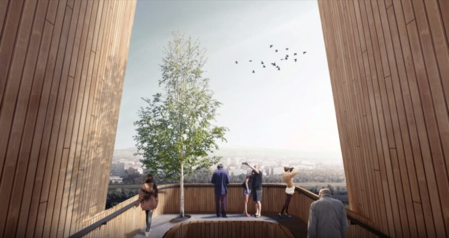 rendering of people looking out at a city from an observational deck