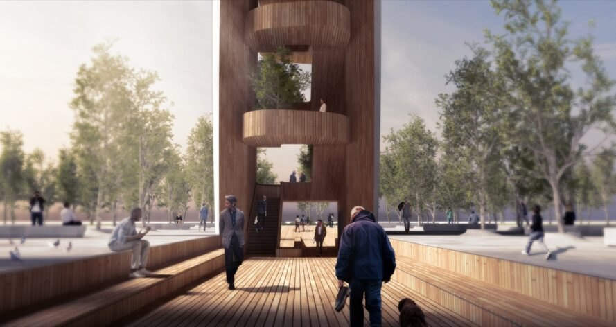 rendering of people climbing wood observation tower