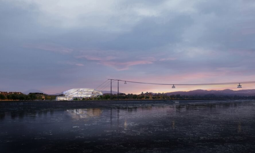 rendering of cable cars at dusk