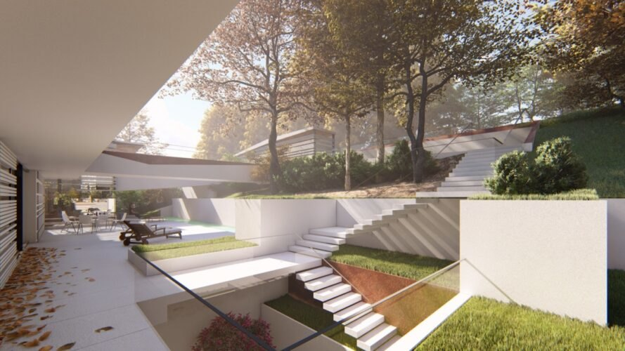 sunlight streaming into garden and patio area