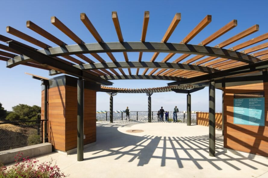 outdoor round wood pergola