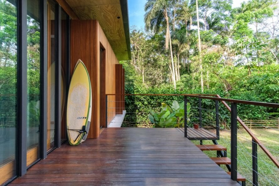 wooden deck with surf board