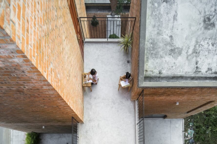 aerial view of outdoor patio with small tables and chairs