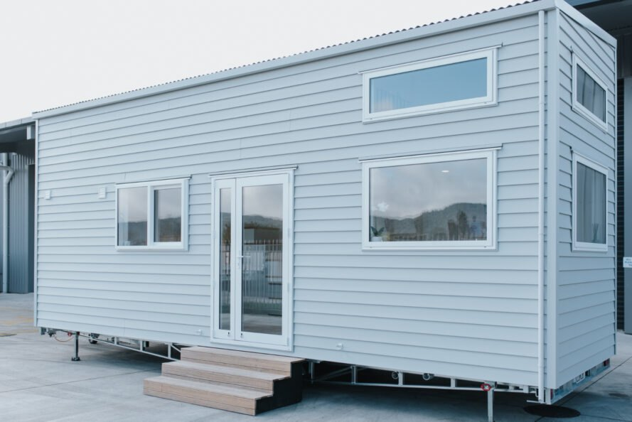 light gray tiny home