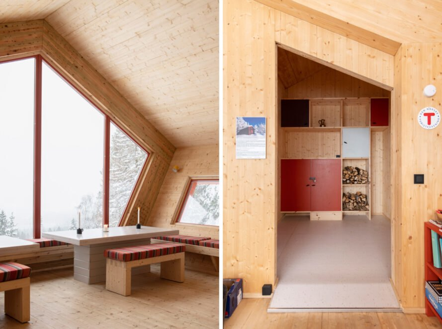 wood-lined cabin interior with red decor accents