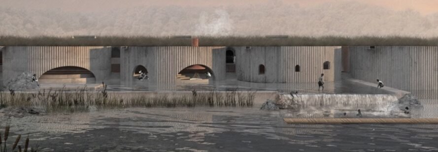 rendering of round concrete buildings