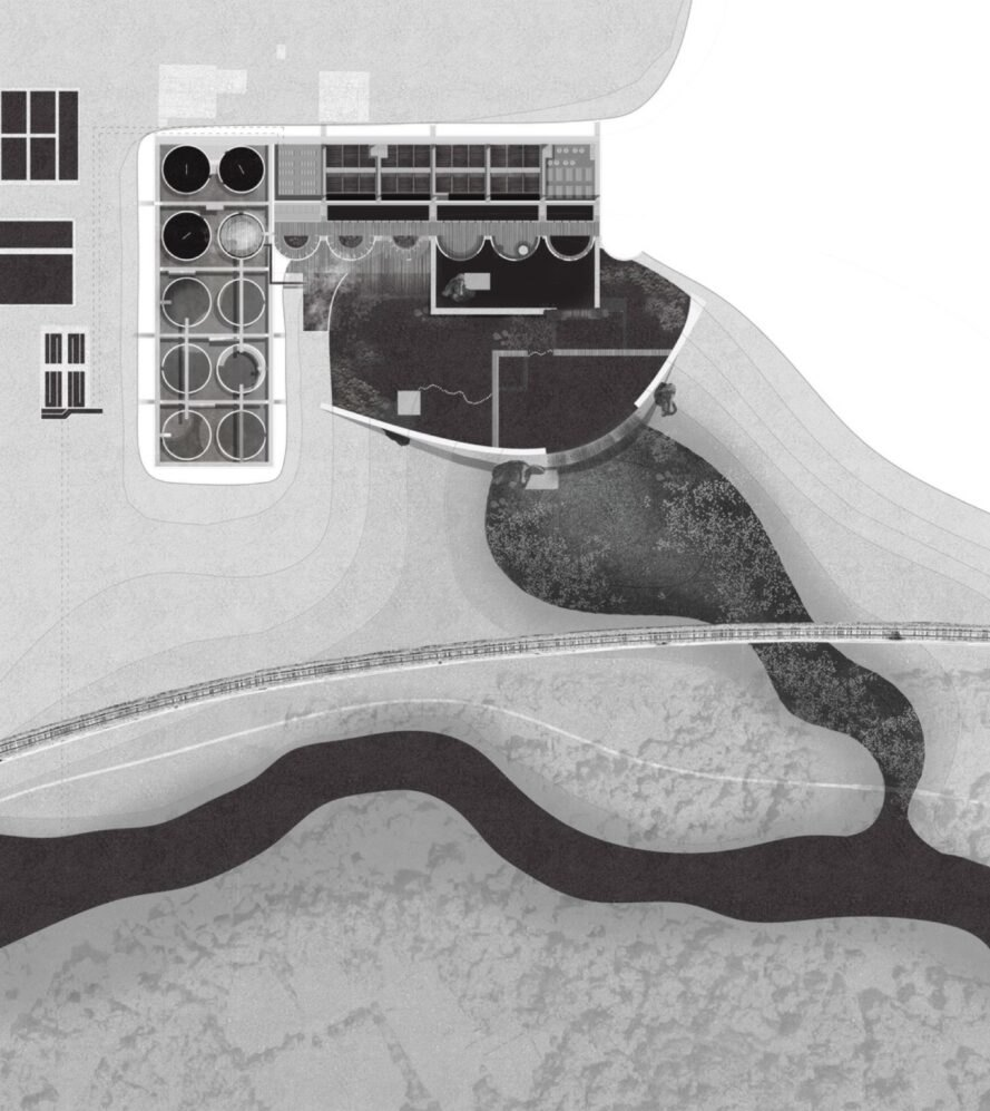 aerial map of wastewater treatment plant