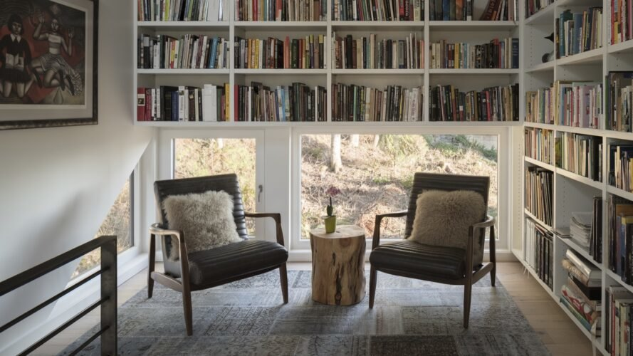 two chairs in front of windows and bookcases