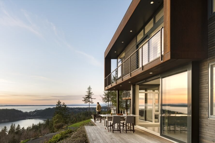metal and wood house facing Puget Sound