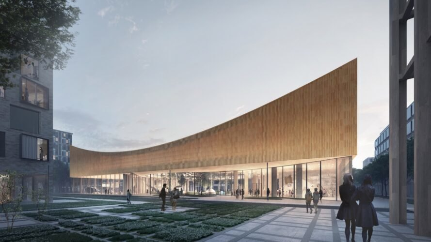 rendering of curved museum with courtyard