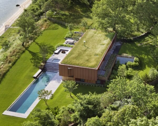 rectangular home with green roof and nearby pool surrounded by greenery