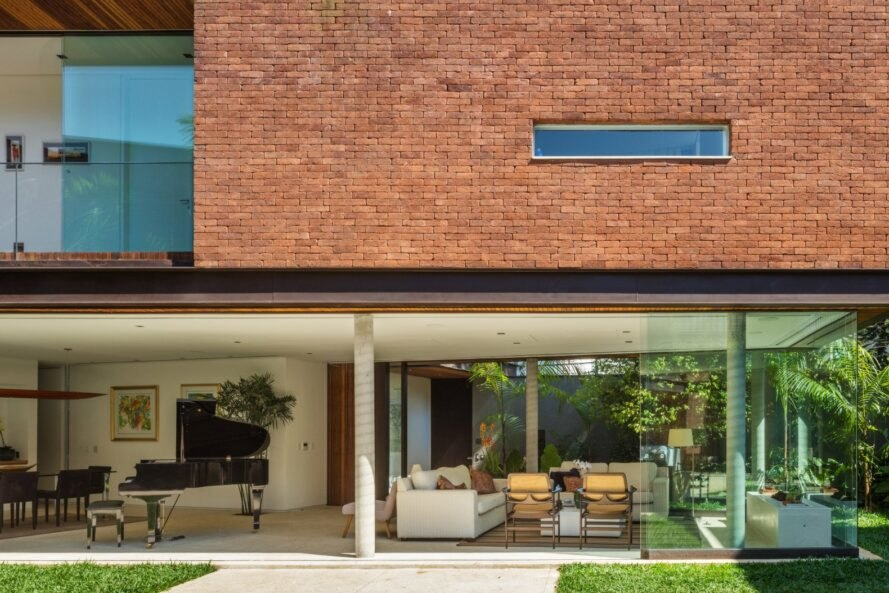 brick house with wall-less ground floor