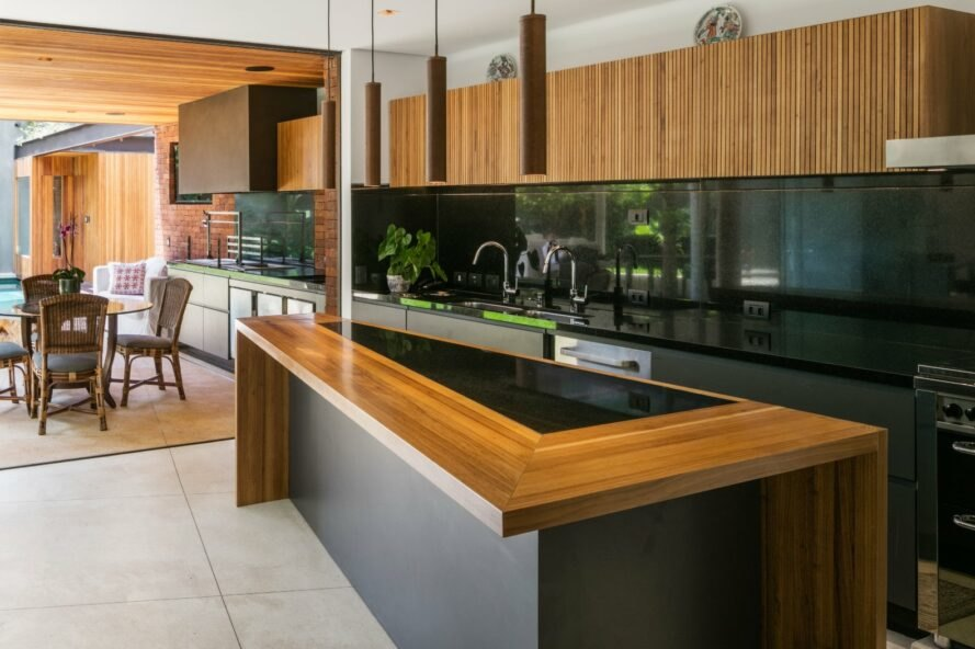 modern kitchen with black and wooden features