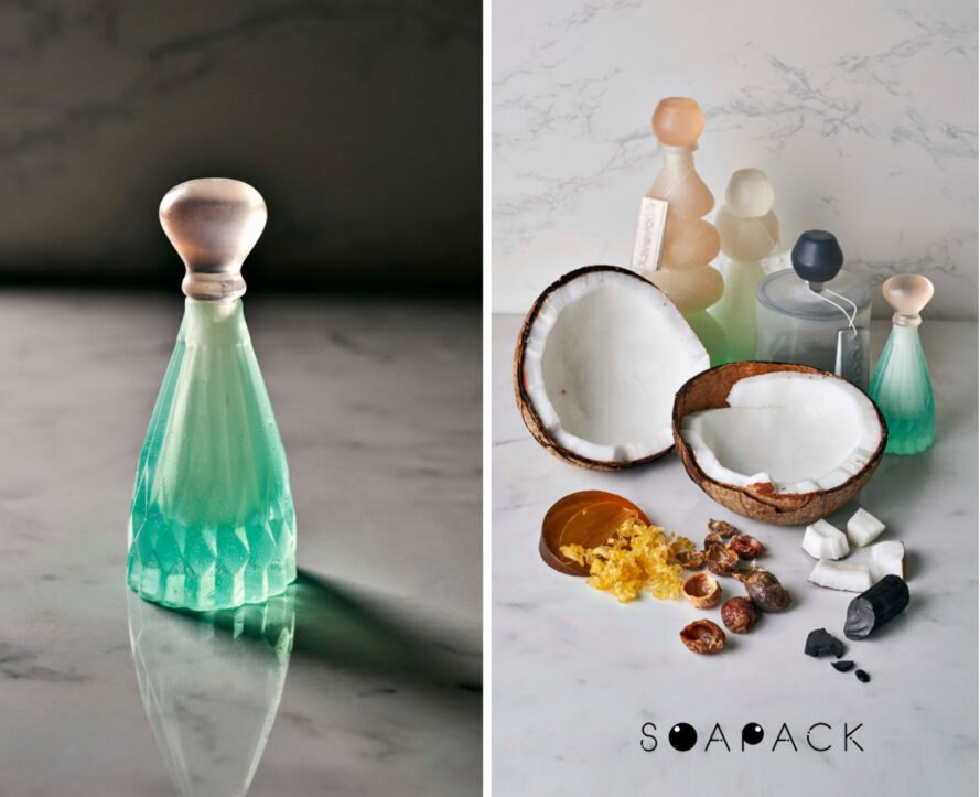selection of clear shampoo bottles
