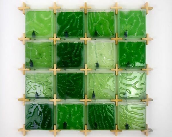 various shades of green squares