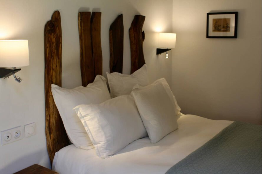 bed with wooden planks as headboard