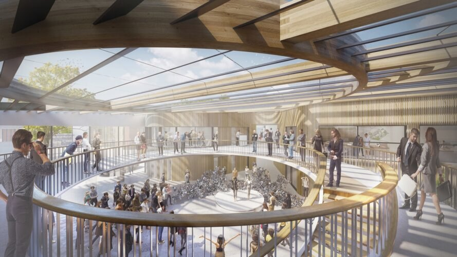 rendering of the interior of the structure with a winding circular walkway, ample light from the ceiling glass